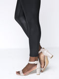 ByChicStyle Solid Fleece Lined Faux Leather Plus Size Legging In Black - Bychicstyle.com