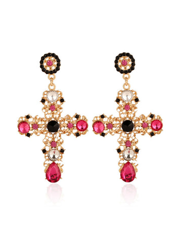 Cross Shape Faux Crystal Earring - Bychicstyle.com