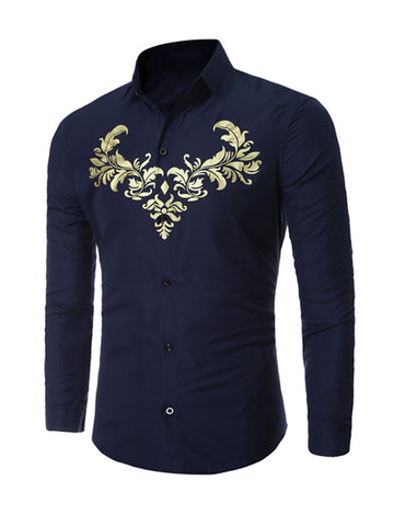 Casual Turn Down Classic Collar Retro Printed Men Shirt