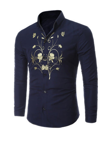 Casual Refined Fitted Floral Printed Men Shirt
