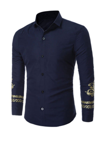 Printed Fitted Trendy Men Shirt - Bychicstyle.com