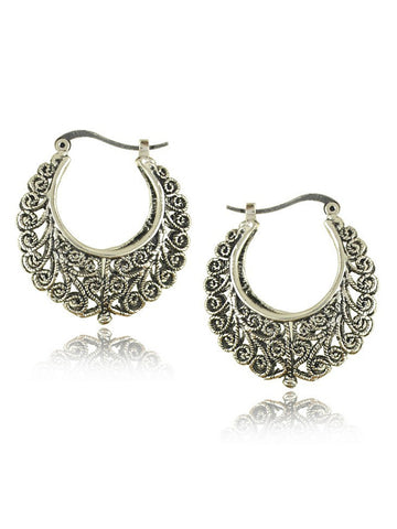 Sterling Silver Hollow Out Earring - Bychicstyle.com