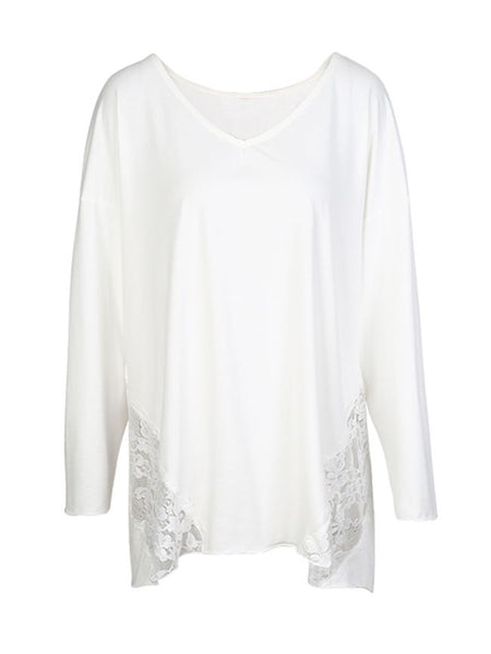 Casual V-Neck Hollow Out Solid Plus Size Batwing Sleeve T-Shirt