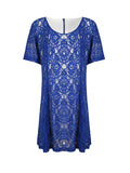 ByChicStyle Casual Regular Round Neck Lace Plus Size Shift Dress