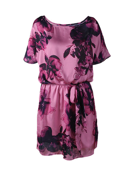 Loose Floral Printed Chiffon Plus Size Flared Dress - Bychicstyle.com