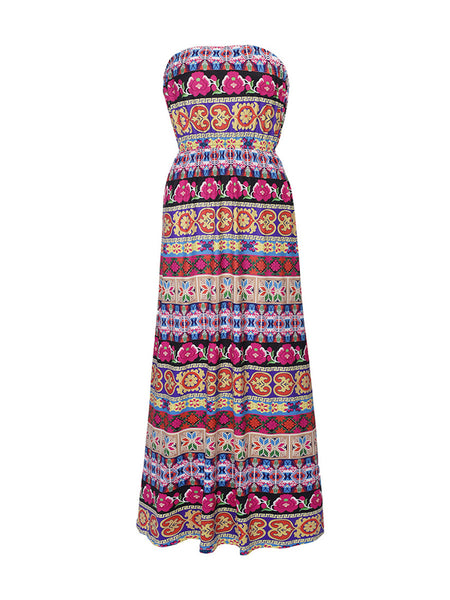 Striped Tribal Printed Strapless Elastic Waist Swing Maxi Dress - Bychicstyle.com