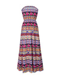 ByChicStyle Striped Tribal Printed Strapless Elastic Waist Swing Maxi Dress - Bychicstyle.com