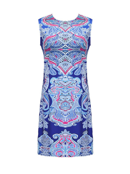 Crew Neck Plus Size Bodycon Dress In Paisley Tribal Printed - Bychicstyle.com