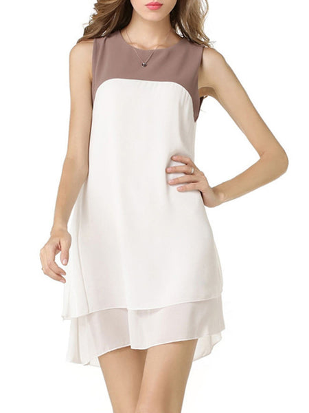 Color Block Chiffon Round Neck Shift Dress - Bychicstyle.com