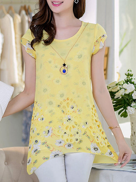 Streetstyle  Casual Asymmetric Hem Decorative Hardware Floral Printed Blouse