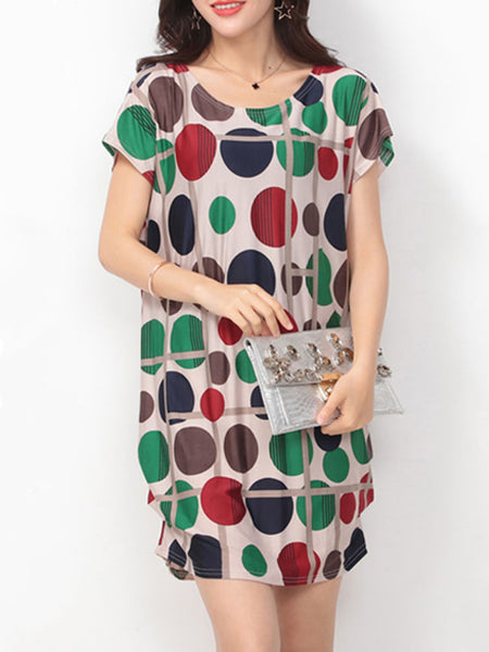 Color Block Polka Dot Round Neck Shift Dress - Bychicstyle.com