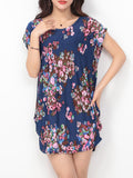 ByChicStyle Round Neck Sack Shift Dress In Floral Printed - Bychicstyle.com
