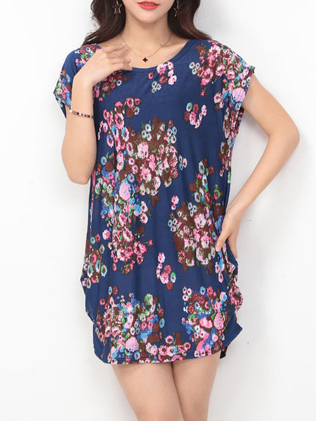 Round Neck Sack Shift Dress In Floral Printed - Bychicstyle.com