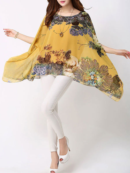 Casual Asymmetric Hem Floral Cape Sleeve Round Neck Blouse