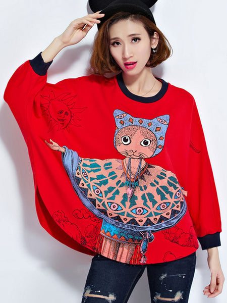 Unique Cartoon Batwing Sleeve Plus Size T-Shirt - Bychicstyle.com