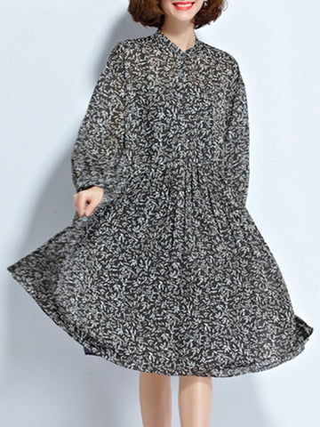 Casual Band Collar Printed Chiffon Plus Size Flared Dress