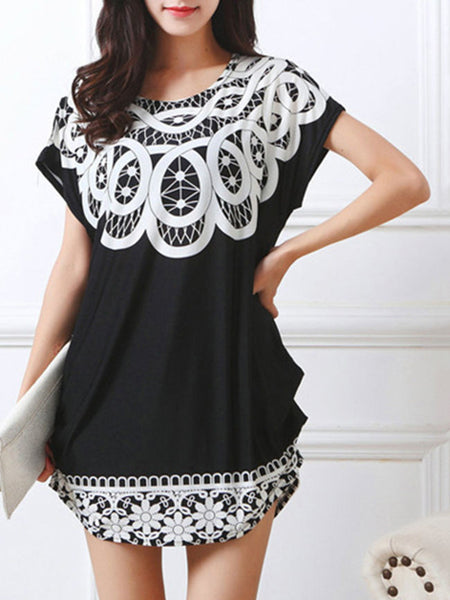 Casual Round Neck Casual Loose Printed Blouse