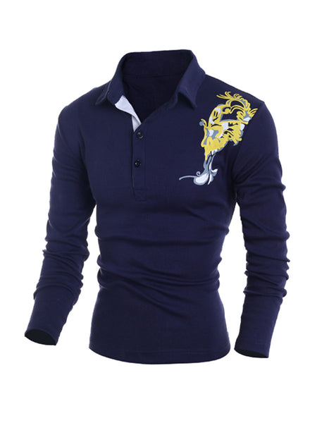Long Sleeve Polo Collar Printed T-Shirt - Bychicstyle.com