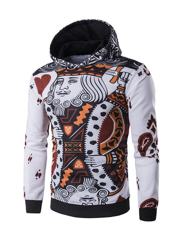 Casual Poker Pattern Long Sleeve Men Hoodie