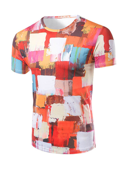 Bright Color Block Painting Round Neck T-Shirt - Bychicstyle.com