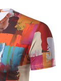 ByChicStyle Bright Color Block Painting Round Neck T-Shirt - Bychicstyle.com