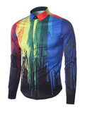 ByChicStyle Covered Button Colorful Paint Dripping Printed Men Shirt - Bychicstyle.com
