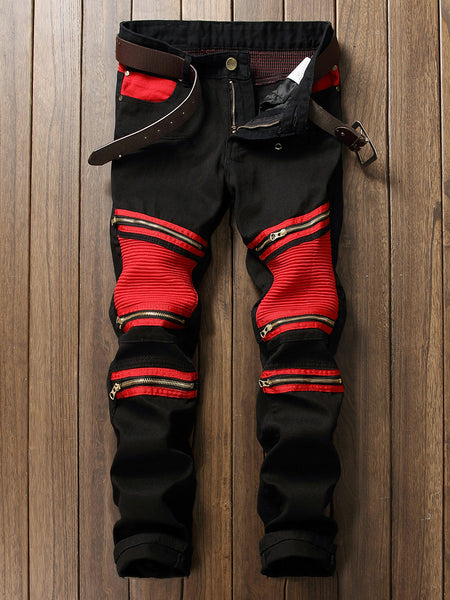 Patchwork Zips Color Block Trendy Straight Men's Jean - Bychicstyle.com