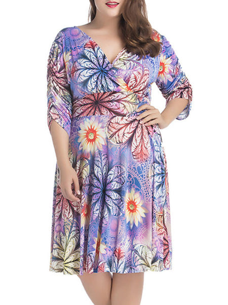 Ruched Deep V-Neck Floral Printed Plus Size Flared Dress - Bychicstyle.com