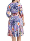 ByChicStyle Ruched Deep V-Neck Floral Printed Plus Size Flared Dress - Bychicstyle.com