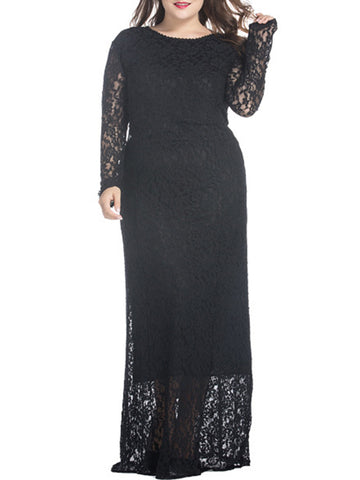 Classic Lace Chic Hollow Out Plain Plus Size Evening Dress - Bychicstyle.com