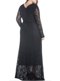 ByChicStyle Classic Lace Chic Hollow Out Plain Plus Size Evening Dress - Bychicstyle.com