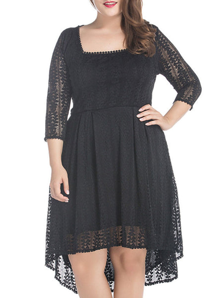 High-Low Square Neck Hollow Out Plain Lace Plus Size Flared Dress - Bychicstyle.com