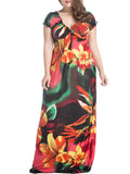 ByChicStyle Deep V-Neck Captivating Floral Plus Size Maxi Dress - Bychicstyle.com