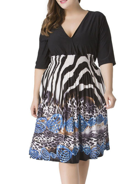 Casual Deep V-Neck Plus Size Flared Dress In Animal Printed