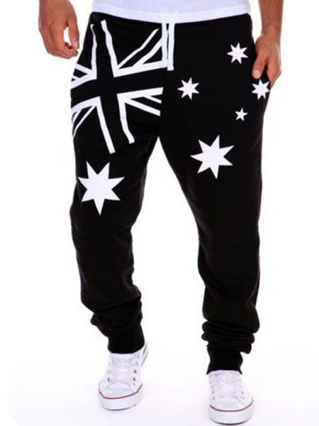 Drawstring Flag Printed Star Men's Casual Pant - Bychicstyle.com