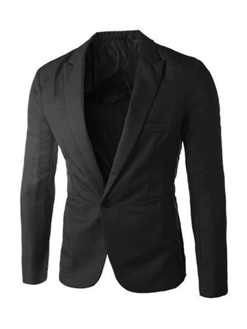 Formal Notch Lapel Single Button Plain Men Blazer - Bychicstyle.com