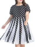 ByChicStyle Black White Polka Dot Chiffon Plus Size Flared Dress - Bychicstyle.com