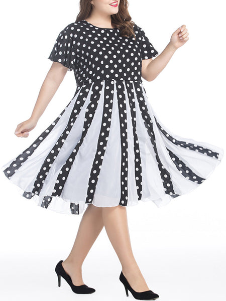 Black White Polka Dot Chiffon Plus Size Flared Dress - Bychicstyle.com