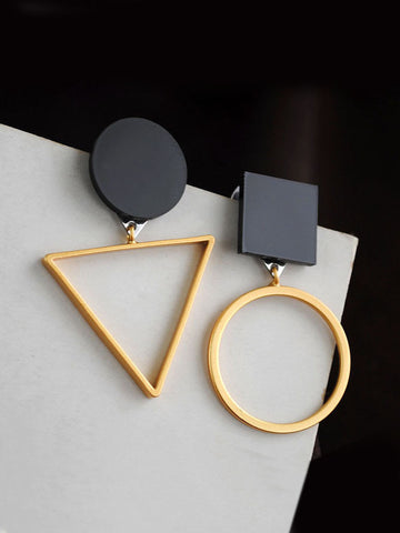 Simple Triangle Asymmetric Earring - Bychicstyle.com
