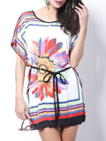 ByChicStyle Round Neck Floral Striped Shift Dress - Bychicstyle.com