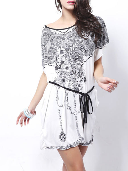Casual Batwing Sleeve Round Neck Tribal Printed Shift Dress