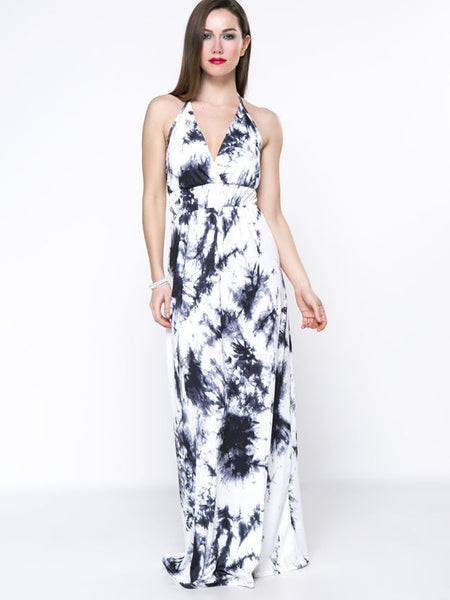 Black White Tie/Dye Halter Backless Maxi Dress - Bychicstyle.com