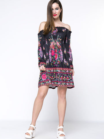 Casual Bell Sleeve Smocked Bodice Tribal Printed Off Shoulder Shift Dress