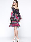 ByChicStyle Casual Bell Sleeve Smocked Bodice Tribal Printed Off Shoulder Shift Dress
