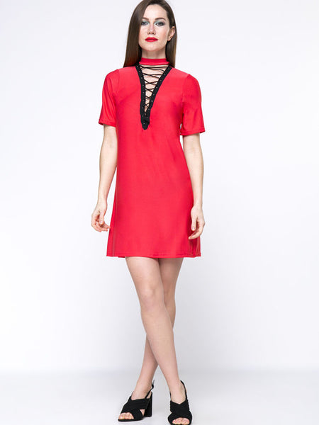 Hot Hollow Out Lace-Up Band Collar Shift Dress - Bychicstyle.com