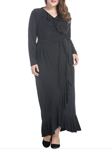 Black V-Neck Flounce Plain Plus Size Maxi Dress - Bychicstyle.com