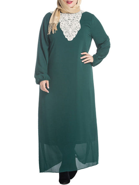 Decorative Lace Round Neck Chiffon Plus Size Midi & Maxi Dress - Bychicstyle.com