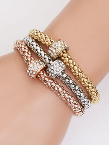 3 Pieces Rhinestone Elastic Chain Bracelet - Bychicstyle.com