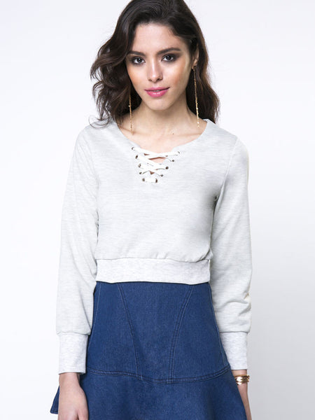 Casual Designed Lace-Up Plain Sweatshirt - Bychicstyle.com