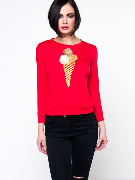 Ice Cream Faux Fur Ball Round Neck Sweatshirt - Bychicstyle.com